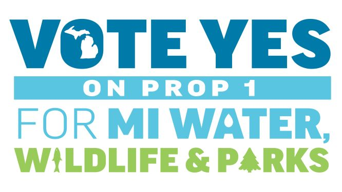 Vote Yes on Prop 1 for MI Water Wildlife and Parks logo